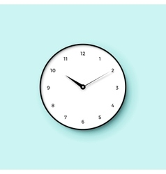Icon of white clock face with shadow on mint wall vector image
