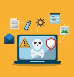 laptop spectre and meltdown malware attack vector image