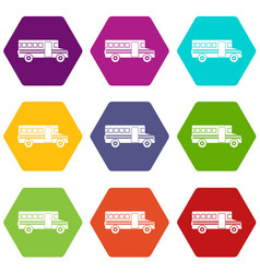 school bus icon set color hexahedron vector image vector image