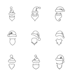 Wizard santa claus icons set outline style vector