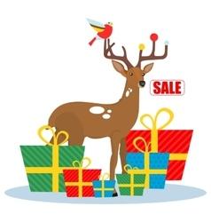 Christmas sale deer vector image vector image