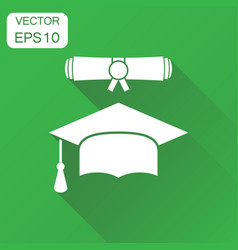 graduation cap and diploma scroll icon business vector image