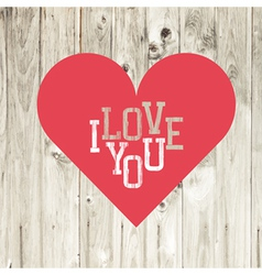 love heart red on wooden texture vector image vector image