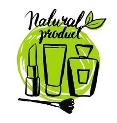 Set brush hand drawn natural eco cosmetics vector image vector image