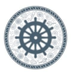 steering wheel and seashells vector image