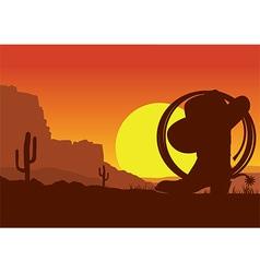 Wild west american desert landscape with cowboy vector image vector image