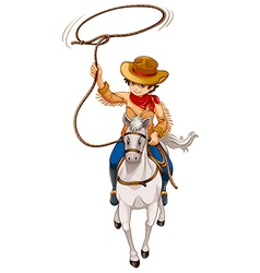 A boy riding a horse with a hat and a rope vector