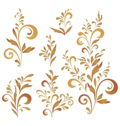 Abstract floral patterns silhouettes vector image
