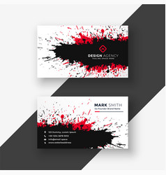 Abstract ink splash red black business card design vector