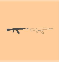 assault rifle dark grey set icon vector image