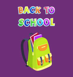 back to school backpack on fastener with pockets vector image