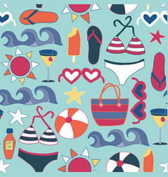 Beach icons flat seamless background tile vector