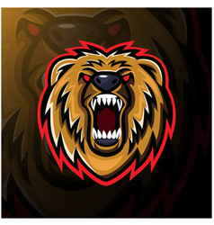 bear head esport mascot logo design vector image
