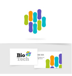 Bio technology logo with abstract color genetic vector