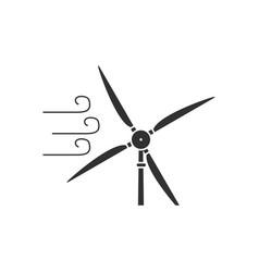 Black icon on white background wind turbine in vector