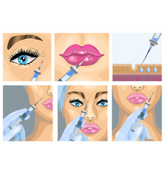 Botox injection cosmetic procedure set vector