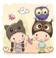 boy and girl with cute owl vector image