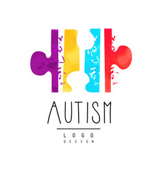 Bright-colored logo with symbol of autism vector
