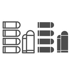 Bullets line and glyph icon ammunition vector