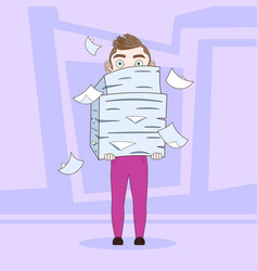 Business man holding stack of paper documents vector