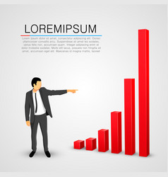 Businessman points to growing chart vector