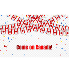 canada garland flag with confetti on transparent vector image
