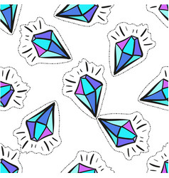 Cartoon crystal pop art fashion badge vector