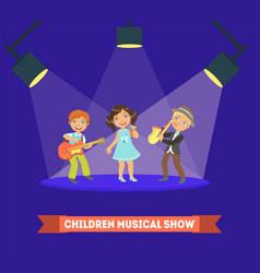 children musical show banner template kids vector image