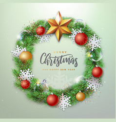 christmas holiday realistic decorative wreath vector image