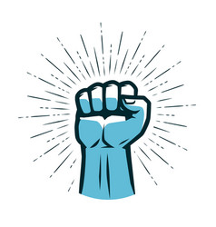 clenched fist raised up gym logo vector image