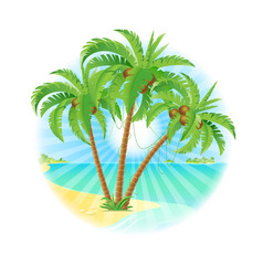coconut palm trees on a island with sun on white vector image