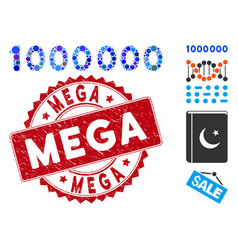 Collage 1000000 digits text icon with grunge mega vector