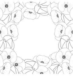 Corn poppy outline border vector