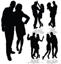 Couple man and woman in love black silhouette vector