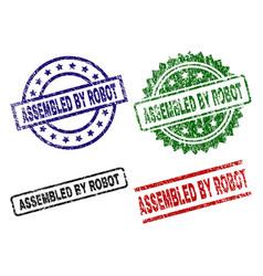 Damaged textured assembled by robot stamp seals vector