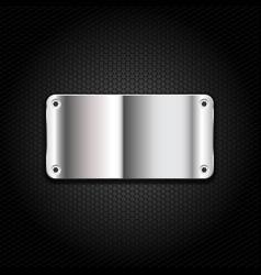dark background with metal banner vector image