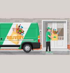delivery van full food and courier vector image