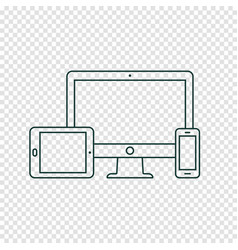 desktop computer tablet pc and mobile phone line vector image