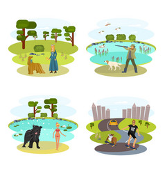 dog and its owner set vector image