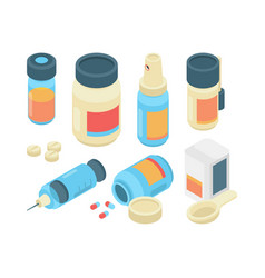 drugs pills isometric pharmaceutical healthcare vector image