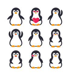 Emojis set pinguin character vector