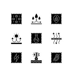 Fabric properties black glyph icons set on white vector