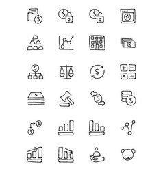 Finance Hand Drawn Doodle Icons 2 vector image