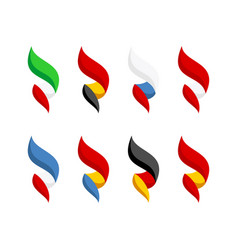 flags some europe countries set bright style vector image