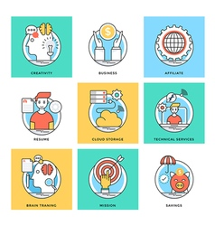 Flat Color Line Design Concepts Icons 7 vector image