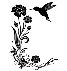 Flowers with hummingbird vector