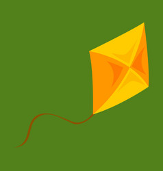 Fly kite with string and shadow on child toy vector