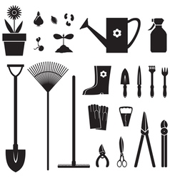 Garden equipment set vector