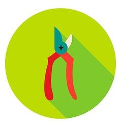 Garden Secateur Tool Circle Icon vector image