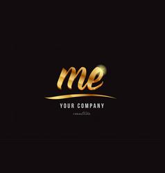 gold alphabet letter me m e logo combination icon vector image